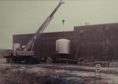 30 ton crane Setting a Tank in the early years.