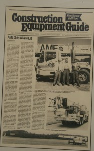 Construction Equipment Guide was excited to share AME's new purchase of a crane that was road ready, use of joy stick operation in the cab along with the PAT system that advised the operator how heavy the load was being lifted.