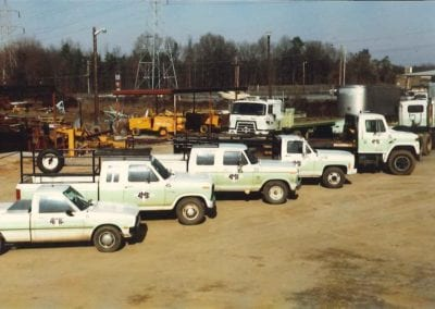 Rock Hill Yard featuring variety of trucks in AME's fleet.